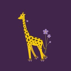 Purple Roller Skating Cute Cartoon Giraffe Canvas 12  x 12  (Unframed)