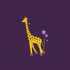 Purple Roller Skating Cute Cartoon Giraffe Canvas 20  X 20  (unframed)