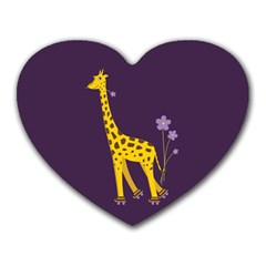 Purple Roller Skating Cute Cartoon Giraffe Mouse Pad (Heart)