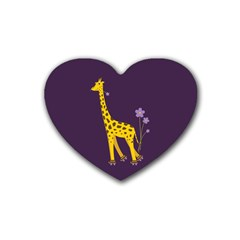 Purple Roller Skating Cute Cartoon Giraffe Drink Coasters 4 Pack (heart)