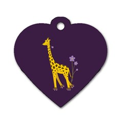 Purple Roller Skating Cute Cartoon Giraffe Dog Tag Heart (Two Sided)