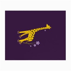 Purple Roller Skating Cute Cartoon Giraffe Glasses Cloth (Small, Two Sided)