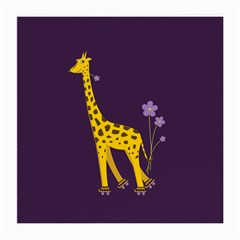 Purple Roller Skating Cute Cartoon Giraffe Glasses Cloth (Medium)