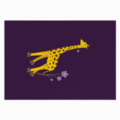 Purple Roller Skating Cute Cartoon Giraffe Glasses Cloth (Large, Two Sided)