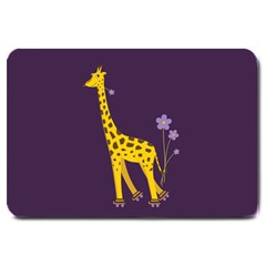Purple Roller Skating Cute Cartoon Giraffe Large Door Mat