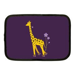 Purple Roller Skating Cute Cartoon Giraffe Netbook Sleeve (Medium)