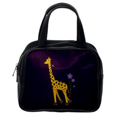 Purple Roller Skating Cute Cartoon Giraffe Classic Handbag (One Side)