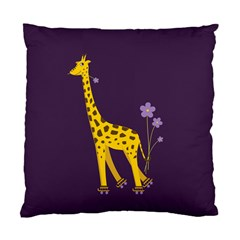 Purple Roller Skating Cute Cartoon Giraffe Cushion Case (Two Sided)
