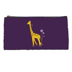 Purple Roller Skating Cute Cartoon Giraffe Pencil Case