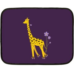 Purple Roller Skating Cute Cartoon Giraffe Mini Fleece Blanket (Two Sided)