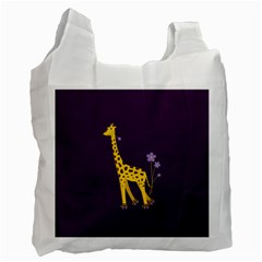 Purple Roller Skating Cute Cartoon Giraffe White Reusable Bag (Two Sides)