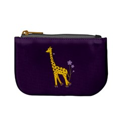 Purple Roller Skating Cute Cartoon Giraffe Coin Change Purse