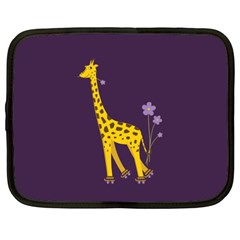 Purple Roller Skating Cute Cartoon Giraffe Netbook Sleeve (XXL)