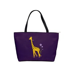 Purple Roller Skating Cute Cartoon Giraffe Large Shoulder Bag