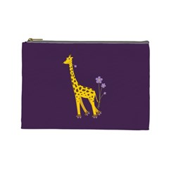 Purple Roller Skating Cute Cartoon Giraffe Cosmetic Bag (large)