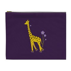 Purple Roller Skating Cute Cartoon Giraffe Cosmetic Bag (XL)