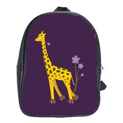 Purple Roller Skating Cute Cartoon Giraffe School Bag (Large)