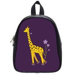 Purple Roller Skating Cute Cartoon Giraffe School Bag (Small)