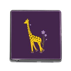 Purple Roller Skating Cute Cartoon Giraffe Memory Card Reader with Storage (Square)