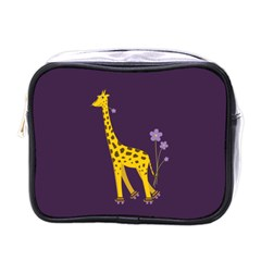 Purple Roller Skating Cute Cartoon Giraffe Mini Travel Toiletry Bag (One Side)