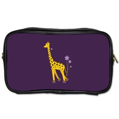 Purple Roller Skating Cute Cartoon Giraffe Travel Toiletry Bag (Two Sides)