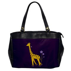 Purple Roller Skating Cute Cartoon Giraffe Oversize Office Handbag (One Side)