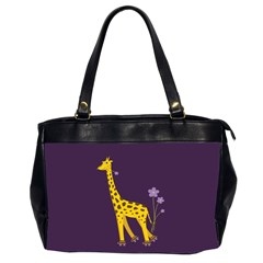 Purple Roller Skating Cute Cartoon Giraffe Oversize Office Handbag (Two Sides)