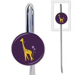 Purple Roller Skating Cute Cartoon Giraffe Bookmark