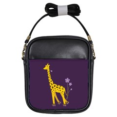 Purple Roller Skating Cute Cartoon Giraffe Girl s Sling Bag