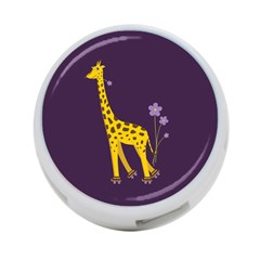 Purple Roller Skating Cute Cartoon Giraffe 4-Port USB Hub (Two Sides)