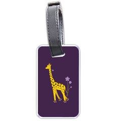 Purple Roller Skating Cute Cartoon Giraffe Luggage Tag (One Side)