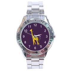 Purple Roller Skating Cute Cartoon Giraffe Stainless Steel Watch