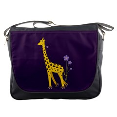 Purple Roller Skating Cute Cartoon Giraffe Messenger Bag