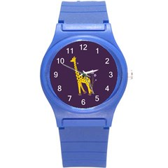 Purple Roller Skating Cute Cartoon Giraffe Plastic Sport Watch (Small)