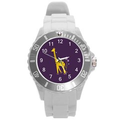 Purple Roller Skating Cute Cartoon Giraffe Plastic Sport Watch (Large)