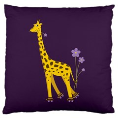 Purple Roller Skating Cute Cartoon Giraffe Large Cushion Case (Two Sided)