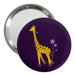 Purple Roller Skating Cute Cartoon Giraffe 3  Handbag Mirror
