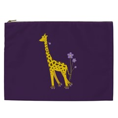 Purple Roller Skating Cute Cartoon Giraffe Cosmetic Bag (xxl)