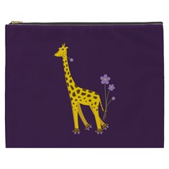 Purple Roller Skating Cute Cartoon Giraffe Cosmetic Bag (xxxl)