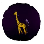 Purple Roller Skating Cute Cartoon Giraffe 18  Premium Round Cushion  Front
