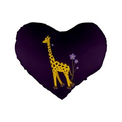 Purple Roller Skating Cute Cartoon Giraffe 16  Premium Heart Shape Cushion