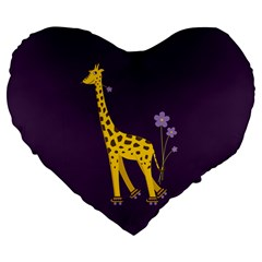 Purple Roller Skating Cute Cartoon Giraffe 19  Premium Heart Shape Cushion
