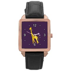Purple Roller Skating Cute Cartoon Giraffe Rose Gold Leather Watch