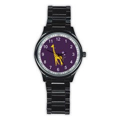 Purple Roller Skating Cute Cartoon Giraffe Sport Metal Watch (black)