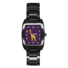 Purple Roller Skating Cute Cartoon Giraffe Stainless Steel Barrel Watch