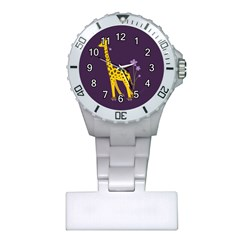 Purple Roller Skating Cute Cartoon Giraffe Nurses Watch