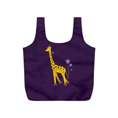 Purple Roller Skating Cute Cartoon Giraffe Reusable Bag (s)