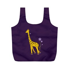 Purple Roller Skating Cute Cartoon Giraffe Reusable Bag (M)