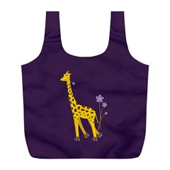 Purple Roller Skating Cute Cartoon Giraffe Reusable Bag (L)