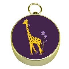 Purple Roller Skating Cute Cartoon Giraffe Gold Compass